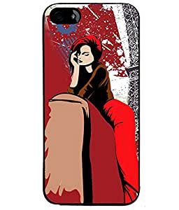 Fuson Eiffel Tower Girl Back Case Cover for APPLE IPHONE 5S - D4072