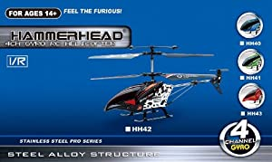 HammerHead Pro Series 4 Channel RC Remote Control Helicopter w/ Gyro & Stainless Steel HH42 (Black)
