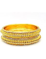 ESHOPITUDE TRENDY YELLOW GOLD PLATED BANGLES SET FOR RAKHI FESTIVAL GIFT FOR WOMENS SIZE 2.6