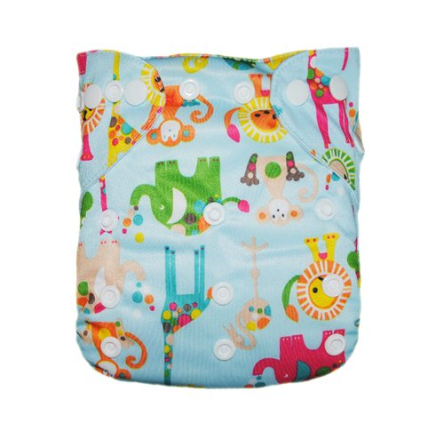 Alva Baby Double Rows of Snaps Reuseable Comfortable Adjustable Cloth Diaper With 2 Inserts N20