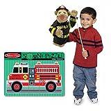 Melissa & Doug Firefighter Pack -Fire Truck Puzzle & Firefighter Puppet