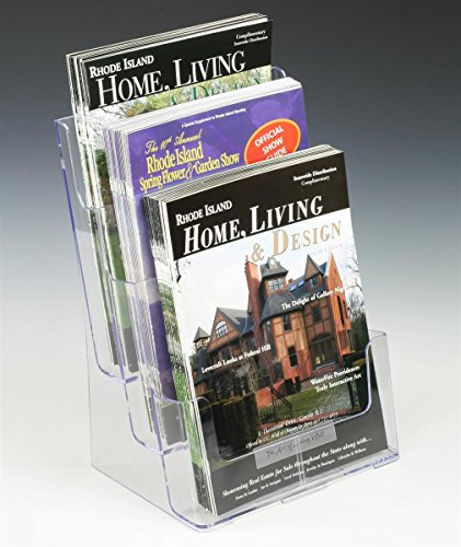 Displays2go 3-Tier Magazine Holders for Tabletop Use 8.5 x 11 Inches Catalogs, Injection Molded Plastic Literature Racks with Slight Bluish Tint (LD3T85DFL) (Literature Holder For Tabletop compare prices)