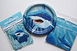 Shark Week Birthday Party Set - Banner, Table Cover, Plates