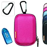 New first2savvv semi-hard pink camera case for Nikon COOLPIX S2800 with card reader