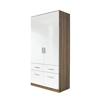 rauch Kleiderschrank Celle 2-trg., Kernnuss Dekor/hochglanz weiß