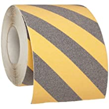 "Brady 60' Length, 6"" Width, B-916 Grit-Coated Polyester Tape, Striped Special Black And Yellow Color Anti-Skid Tape"