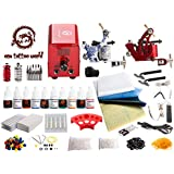 1TattooWorld Red Series Tattoo Kit 2 Tattoo Machines, Digital Power Supply, 10 Color 5ml Tattoo inks, Grips, Needles, Transfer Paper etc, OTW-KTR210A