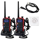 Retevis RT5 2 Way Radio 5W Dual Band VHF/ UHF 136-174/400-520 MHz 128 Channel Scan VOX FM Radio Flashlight Walkie Talkies Ham Radio Transceiver (2 Pack) and Programming Cable