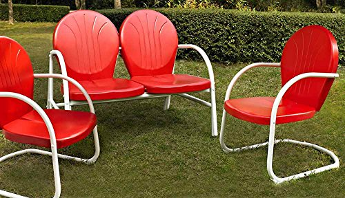 Crosley '3-Piece Griffith Metal Outdoor Conversation Seating Set with Loveseat and 2 Chairs', Red