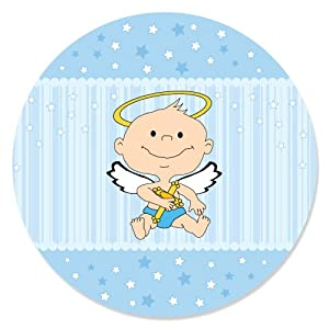 angel baby boy circle sticker labels 1 sheet of 24 $ 6 99 $ 5 99
