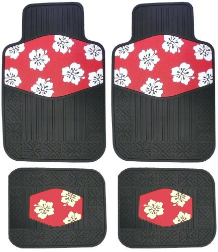 Hawaiian Red Hibiscus Flowers Rubber Car Truck SUV Front & Rear Floor Mats