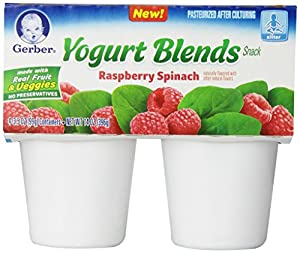 Gerber Yogurt Blends Snack, Raspberry Spinach, 4 Count (Pack of 6)