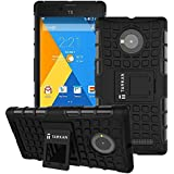 TARKAN Hard Armor Hybrid Rubber Bumper Flip Stand Rugged Back Case Cover For Micromax YU Yuphoria - Black