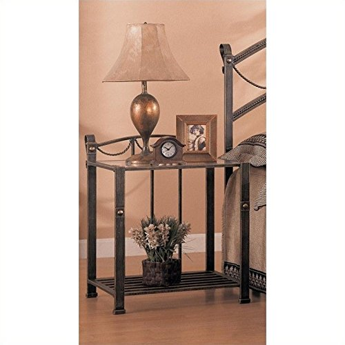Coaster Home Furnishings 300022 Whittier Casual Iron Nightstand with Glass Shelf, Antique Brown (Iron Stand Table compare prices)