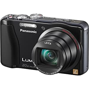 Panasonic Lumix ZS20 14.1 MP High Sensitivity MOS Digital Camera with 20x Optical Zoom (Black) ZS 20- FREE 2 PACK FIBER CLOTH