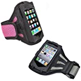 2 x Running Walking Jogging Cycling Sports Gym Armband Case Cover Holder for Apple iPhone 5 / 5S - Pink, Grey
