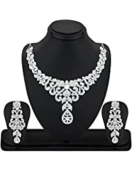 REEVA DAZZLING ALLOY RHODIUM NECKLACE SET WITH AUSTRIAN DIAMOND
