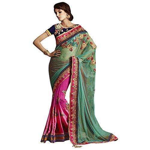 aagaman-mode-glamorous-blumen-flecken-arbeitete-hochzeit-halbe-halbe-saree-wear