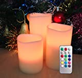 Flameless Candles - Pillar, Multiple Colors, Long Hours of Lighting, Batteries Included, LED Candles, Flameless Candle Set, Battery Operated, Decorations, Centerpieces, Restaurant Table