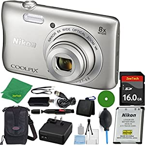 Nikon COOLPIX S3700 Digital Camera with 8x Optical Zoom and Wi-Fi (Silver) (Brand New, White Box Packaging) ZeeTech Bundle with 6pc Starter Kit + Case + Lens Pen + Blower Brush + 16GB Memory