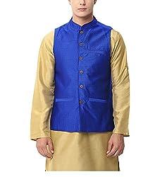 Yepme Men's Blue Blended Nehru Jackets - YPMNJKT0023_L