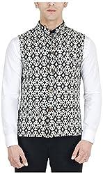 Suchos Men's Linen Shirt (SJ14, Black and White, S)