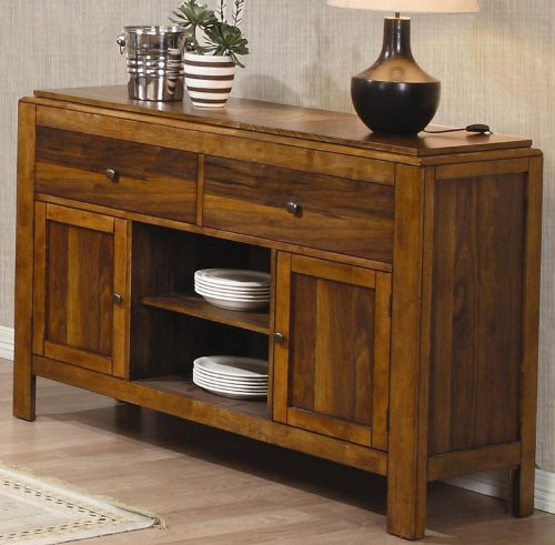 Cheap Server Sideboard Walnut Grid Pattern in Light Natural Finish (VF_102195)