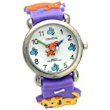 Geneva Puppy Theme Purple Rubber Band Kids Watch #CH-49