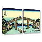 ArtWall Katsushika Hokusai's Fuji See Through The Mannen Bridge at Fukagawa 2 Piece Gallery Wrapped Canvas Set Artwork, 18 x 28