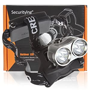SecurityIng® 2 x CREE XM-L T6 LED 3-Mode 1800LM Headlamp, CREE LED Lamp Headlight... by SecurityIng