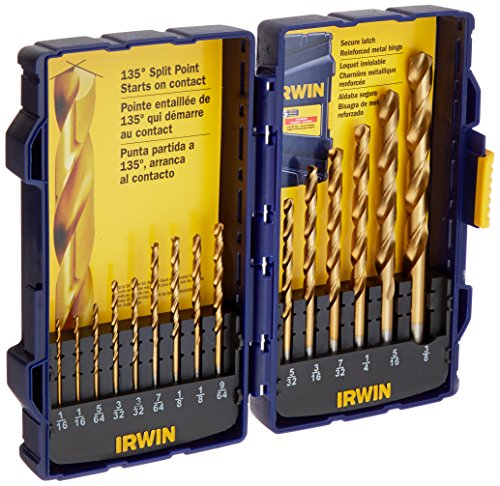 Irwin Tools 4935607 Titanium Coated High-Speed Steel Drill Bit Set, Pro Case, 15-Piece
