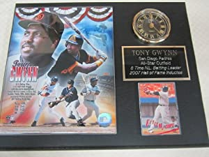 Tony Gwynn San Diego Padres Collectors Clock Plaque w 8x10 Photo and Card by J & C Baseball Clubhouse