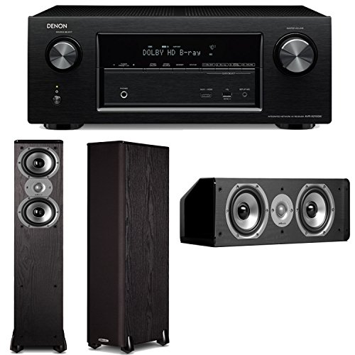 Denon Avr-X2100W 7.2 Channel Full 4K Ultra Hd A/V Receiver Plus A Pair Of Polk Audio Tsi 300 Floorstanding Speakers & Cs10 Center Channel Speaker