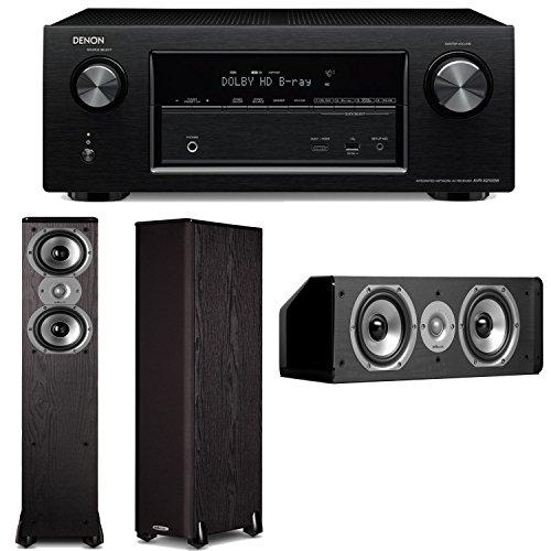 Denon Avr-X2100W 7.2 Channel Full 4K Ultra Hd A/V Receiver Plus A Pair Of Polk Audio Tsi 300 Floorstanding Speakers & Cs10 Center Channel Speaker