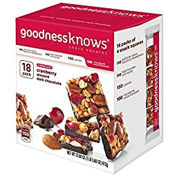 Goodnessknows Cranberry, Almond and Dark Chocolate Snack Squares, 1.2 oz bar(18 count)