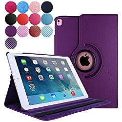 iPad Pro 9.7 Case (2016), Aoways Luxury 360 Degree Rotating Stand Series Smart Defender Cover Case for Apple iPad Pro 9.7 inch ,with Auto Sleep / Wake Feature Leather case PURPLE