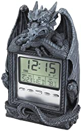 Sleepy Dragon Gargoyle Statue Sculpture Time LCD Alarm Clock