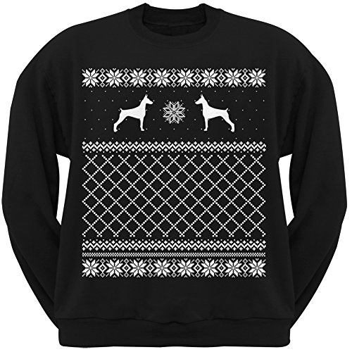 Doberman Pinscher Black Adult Ugly Christmas Sweater Crew Neck Sweatshirt - X-Large
