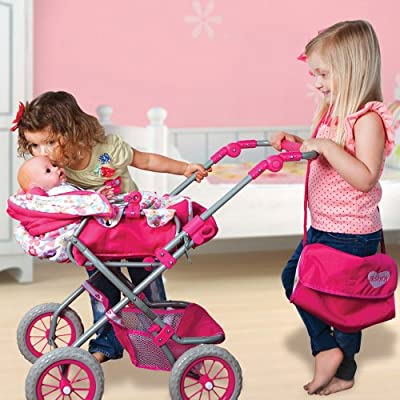 Adora Doll Accessories Adjustable Handle Deluxe Stroller with free Diaper & Carriage Bag for Kids 2 years & up