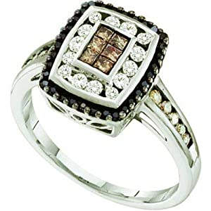 0.50 Carat (ctw) 14k White Gold White, Brown & Black Diamond Ladies Fashion Invisible Right Hand Ring