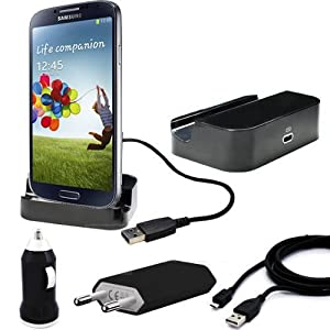 5in1 Set für Samsung S4 i9500 SIV mini Dockingstation + Ladekabel für Samsung Galaxy S4 i9500 SIV / Tischladestation Ladestation Cradle / Dock / Basisstation / Ladekabel Ladegerät Charger Netzteil / 2x micro USB 2.0 Datenkabel mit Line OUT / KFZ Auto Ladekabel