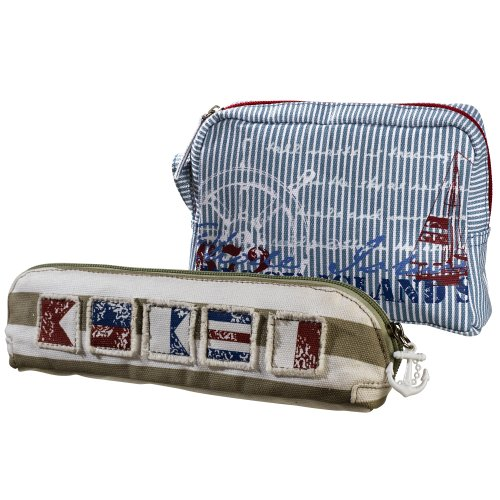 Grasslands Road Nautical Cosmetic Bag Assortment, Set Of 4