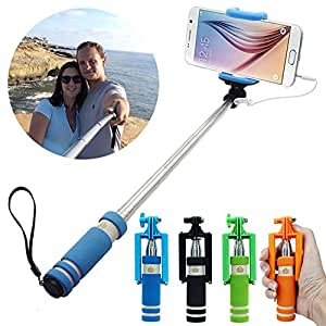Hello-6 Mini Selfie Stick with Aux cable for iPhone, Android, Windows Phone, No bluetooth & No charging required (Color may vary) for MICROMAX CANVAS HUE PHONES