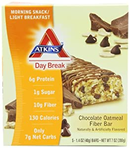 Atkins Day Break Chocolate Oatmeal Fiber Bar, 5-Count Bars (Pack of 2) by Atkins