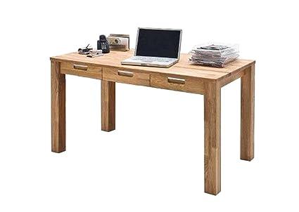 Schreibtisch in Asteiche massiv, geölt, mit 3 Schubkästen, Maße: B/H/T ca. 135/76/70 cm