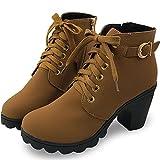 [モノジー] MONOZY レディース ショートブーツ チャンキーヒール レースアップ サイドジップ 美脚 シンプル 軽量 ハイヒール ショート ブーツ (キャメル 23.0cm)