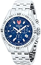 Swiss Eagle Men's Quartz Watch with Blue Dial Analogue Display and Silver Stainless Steel Bracelet SE-9020-22