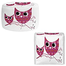 Foot Stools Poufs Chairs Round or Square from DiaNoche Designs by Susie Kunzelman Home Decor and Unique Bedroom Ideas - Owl Argyle Pink
