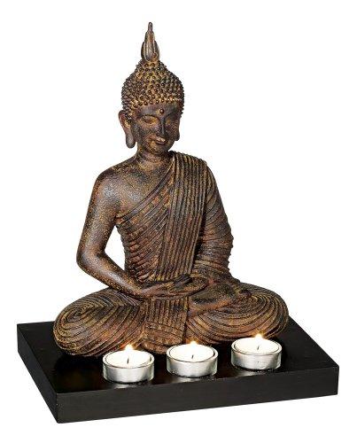 Sitting Buddha 3-Candle Tealight Holder