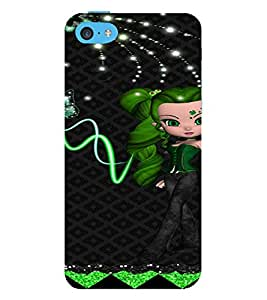 PrintVisa Cute Animated Girl Butterfly 3D Hard Polycarbonate Designer Back Case Cover for Apple iPhone 5C